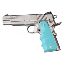 1911 Govt. Model: Cobblestone Rubber Grip with Finger Grooves - Aqua