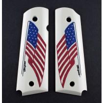 1911 Govt. Model Scrimshaw Ivory Polymer - American Flag - Ambi-Cut