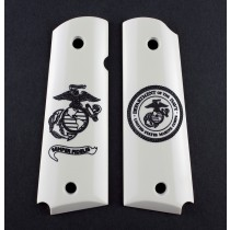 Govt. Model Scrimshaw Ivory Polymer Ambi Safety Cut - Marines Eagle Globe and Anchor