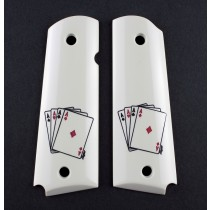1911 Govt. Model Scrimshaw Ivory Polymer - Double Aces - Ambi-Cut