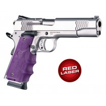 Red Laser Enhanced Grip for 1911 Govt. Model: Cobblestone Rubber Grip with Finger Grooves - Purple