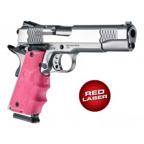 Laser Enhanced Grip Red Laser - Govt. Model Rubber Grip with Finger Grooves Pink