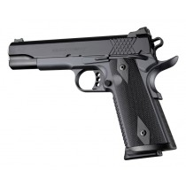 1911 Govt. Model S&A/Techwell Mag Well Checkered G10 - Solid Black
