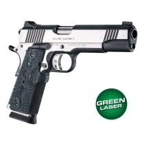 Green Laser Enhanced Grip for 1911 Govt. Model: Piranha G10 - G-Mascus Black