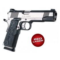 Red Laser Enhanced Grip for 1911 Govt. Model: Piranha G-Mascus G10 - Black
