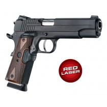 Red Laser Enhanced Grip for 1911 Govt. Model: Reinforced Checkered Walnut