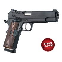 Red Laser Enhanced Grip for 1911 Govt. Model: Checkered Reinforced Hardwood - Walnut