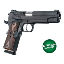 Green Laser Enhanced Grip for 1911 Govt. Model: Checkered Reinforced Hardwood - Walnut