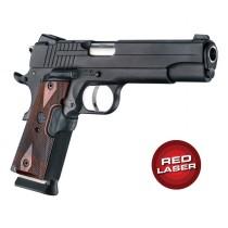 Red Laser Enhanced Grip for 1911 Govt. Model: Checkered Reinforced Hardwood - Rosewood