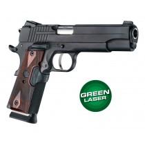 Laser Enhanced Grip Green Laser - Govt. Model 1911 Reinforced Rosewood Checkered