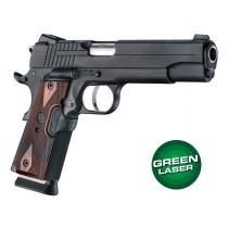 Green Laser Enhanced Grip for 1911 Govt. Model: Checkered Reinforced Hardwood - Rosewood