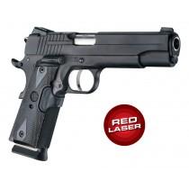 Red Laser Enhanced Grip for 1911 Govt. Model: Reinforced Checkered Blackwood