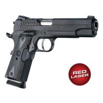 Red Laser Enhanced Grip for 1911 Govt. Model: Checkered Reinforced Hardwood - Blackwood