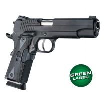Green Laser Enhanced Grip for 1911 Govt. Model: Checkered Reinforced Hardwood - Blackwood