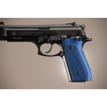 Taurus PT-99 PT-92 PT-100 PT-101 With Decocker Checkered Aluminum - Matte Blue Anodize
