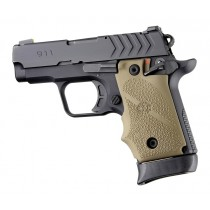 Springfield Armory 911 .380: Cobblestone Rubber Grip with Finger Grooves (Ambi Safety) - FDE