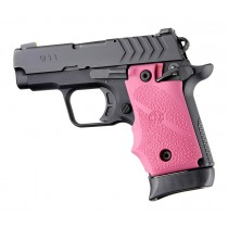 Springfield Armory 911 .380: Cobblestone Rubber Grip with Finger Grooves (Ambi Safety) - Pink