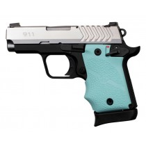 Springfield Armory 911 9mm: Cobblestone Rubber Grip with Finger Grooves (Ambi Safety) - Aqua
