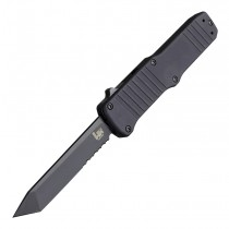"""HK Hadron Out the Front Automatic: 3.375"""" Tanto Blade (Partially Serrated) - Black PVD Finish, Matte Black Aluminum Frame"""