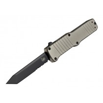 "HK Hadron Out the Front Automatic: 3.375"" Tanto Blade (Partially Serrated) - Black PVD Finish, Matte FDE Aluminum Frame"
