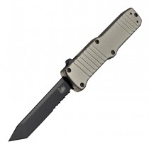 "HK Hadron OTF Automatic: 3.375"" Tanto Blade (Partially Serrated) - Black PVD Finish, Matte FDE Aluminum Frame"