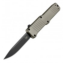 "HK Hadron Out The Front Automatic: 3.375"" Clip Point Blade - Black PVD Finish, Matte FDE Aluminum Frame"