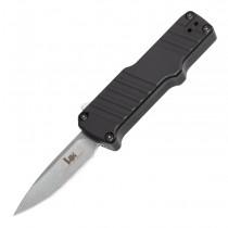 "HK Micro Incursion OTF Automatic: 1.95"" Clip Point Blade - Tumbled Finish, Matte Black Aluminum Frame"