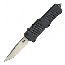 "HK Mini Incursion OTF Automatic: 2.95"" Clip Point Blade - Tumbled Finish, Matte Black Aluminum Frame"