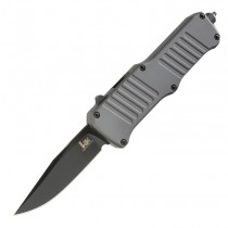 "HK Mini Incursion OTF Automatic: 2.95"" Clip Point Blade - Black PVD Finish, Matte Grey Aluminum Frame"
