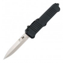 "HK Incursion OTF Automatic: 3.9"" Bayonet Blade - Tumbled Finish, Matte Black Aluminum Frame"
