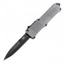 "HK Incursion OTF Automatic: 3.9"" Bayonet Blade - Black PVD Finish, Matte Grey Aluminum Frame"