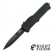 "HK Incursion OTF Automatic: 3.9"" Bayonet Blade - Black PVD Finish, Matte Black Aluminum Frame - Tritium Infused Trigger"