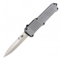 "HK Incursion OTF Automatic: 3.9"" Bayonet Blade - Tumbled Finish, Matte Grey Aluminum Frame"