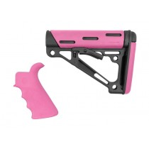 AR-15 / M16 Kit: OverMolded Beavertail Grip & Collapsible Buttstock (Fits Mil-Spec Buffer Tube) - Pink