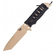 "HK Fray Fixed Blade: 4.2"" Tanto Blade - FDE Cerakote Finish, Black Paracord Wrap Frame"
