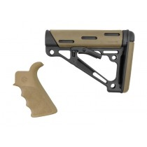 AR-15 / M16 Kit: OverMolded Beavertail Grip & Collapsible Buttstock (Fits Mil-Spec Buffer Tube) - FDE