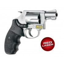 Red Laser Enhanced Grip for S&W J-Frame Round Butt: Cobblestone Rubber Monogrip - Black