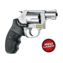 Red Laser Enhanced Monogrip for S&W J-Frame Round Butt: Cobblestone Rubber - Black