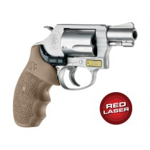 Red Laser Enhanced Monogrip for S&W J-Frame Round Butt: OverMolded Rubber - FDE