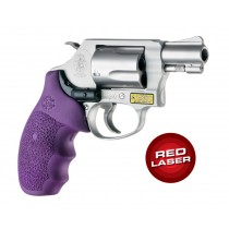 Laser Enhanced Grip Red Laser - S&W J Frame Round Butt Rubber Monogrip Purple