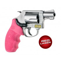 Red Laser Enhanced Grip for S&W J-Frame Round Butt: Cobblestone Rubber Monogrip - Pink