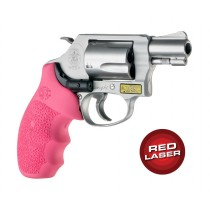Red Laser Enhanced Monogrip for S&W J-Frame Round Butt: OverMolded Rubber - Pink
