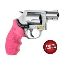 Red Laser Enhanced Monogrip for S&W J-Frame Round Butt: Cobblestone Rubber - Pink
