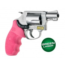 Laser Enhanced Grip Green Laser - S&W J Frame Round Butt Rubber Monogrip Pink