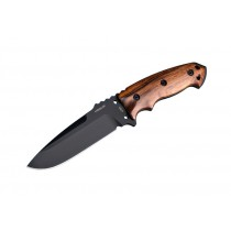 "EX-F01 5 1/2"" Fixed Drop Point Blade A-2 Black Kote Black Sheath - Wood Cocobolo Scales"