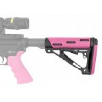 AR-15/M-16 OverMolded Collapsible Buttstock - Fits Commercial Buffer Tube - Pink Rubber