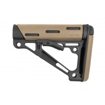 AR-15 / M16: OverMolded Collapsible Buttstock (Fits Mil-Spec Buffer Tube) - FDE