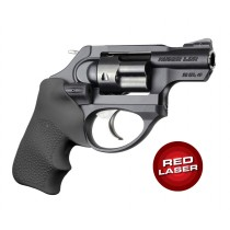 Red Laser Enhanced Grip for Ruger LCR: OverMolded Rubber Tamer Cushion - Black