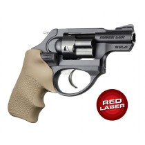 Red Laser Enhanced Grip for Ruger LCR: OverMolded Rubber Tamer Cushion - FDE