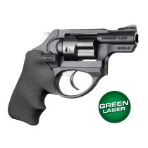 Green Laser Enhanced Grip for Ruger LCR: OverMolded Rubber Tamer Cushion - Black